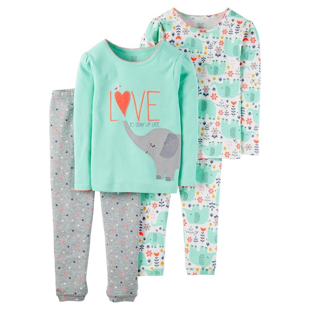 Toddler Girls  4-Piece Snug Fit Cotton Pajama Set Elephant - Mint Green 3T  - Just One You Made by Carter s 71ad08b5f