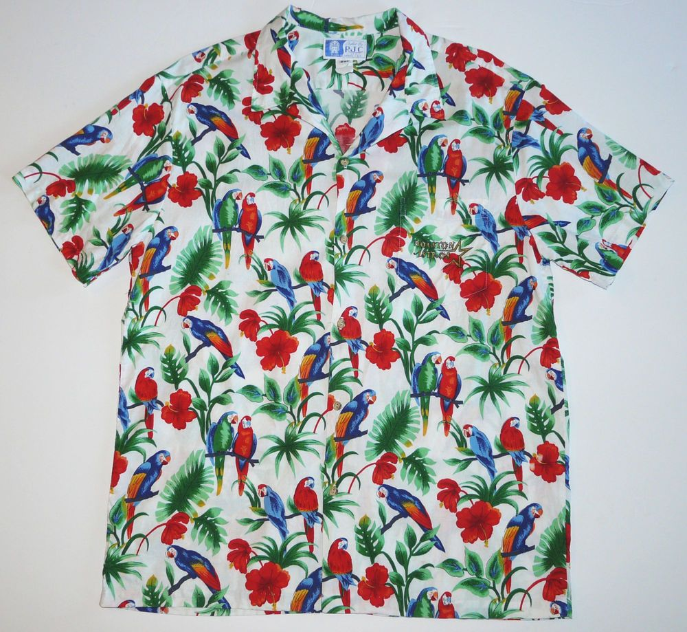 20c3cb74 Vtg Houston Astros MLB RJC Hawaiian Camp Shirt Mens 2XL XXL Parrots &  Hibiscus #