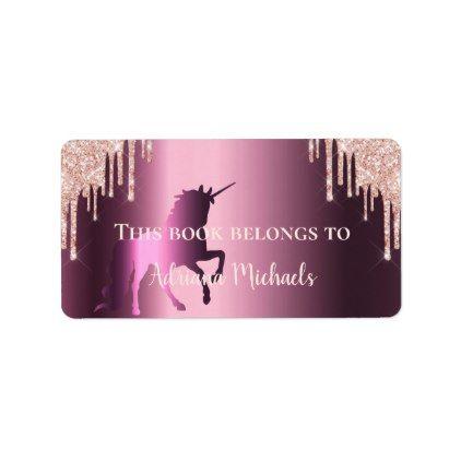 Unicorn rose gold glitter purple bookplate | Zazzle.com #goldglitterbackground
