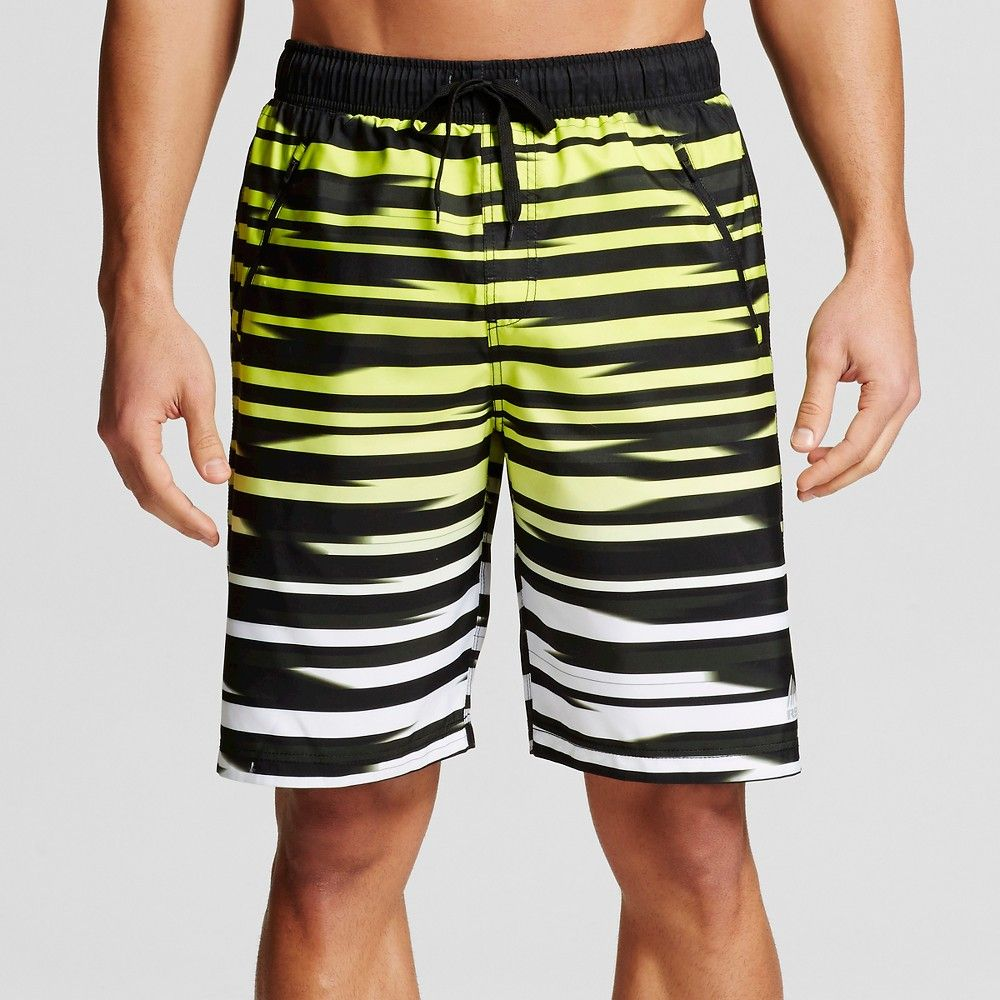 2cf0c8ea3c Men's Stripe Microfiber 9 Board Shorts Yellow L - Rbx, Size: Large ...