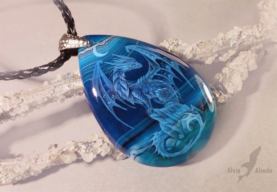 Dragon necklace etched into stone jewelry - pendant.