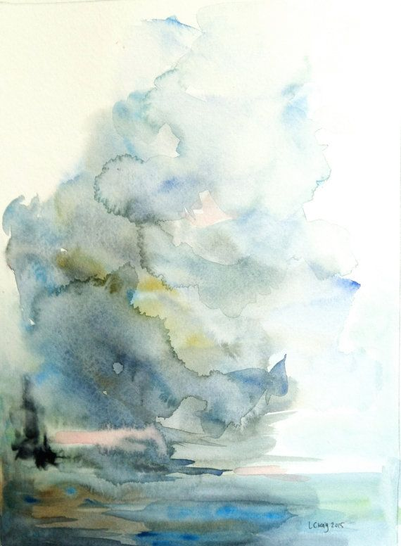 Original Watercolor Abstract Seascape Skyscape Landscape 9x12