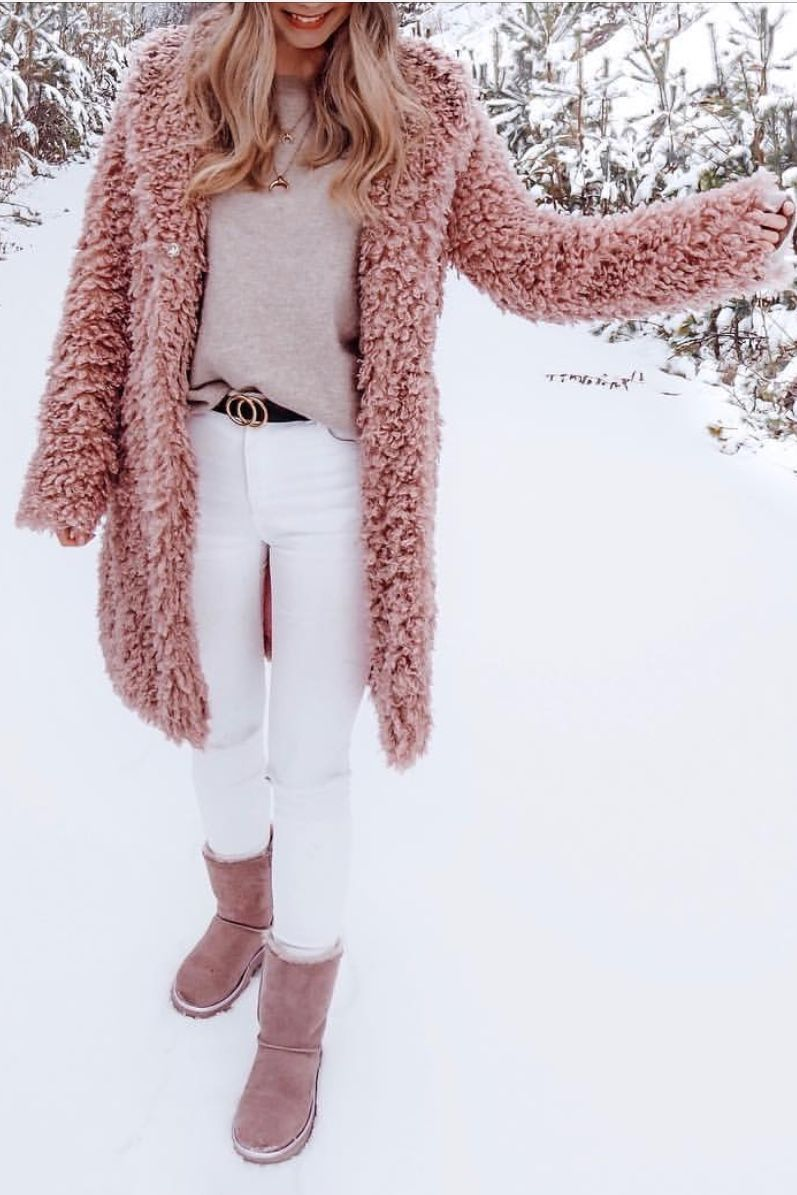 Blush Pink Teddy Coat With Pink Boots Winterfashion Winterjacket Teddycoat Winter Outfits Dressy Coat Outfit Casual Winter Coat Outfits [ 1195 x 797 Pixel ]