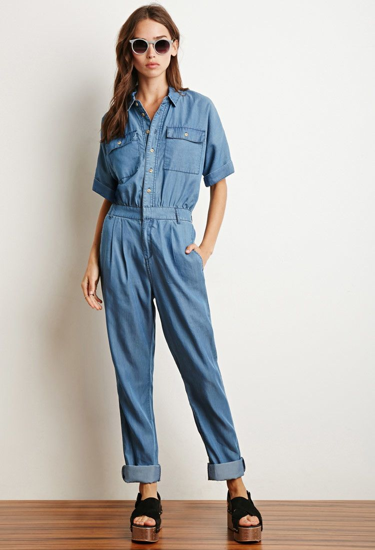 Buttoned Chambray Utility Jumpsuit | Forever 21 - 2000130596 | style ...
