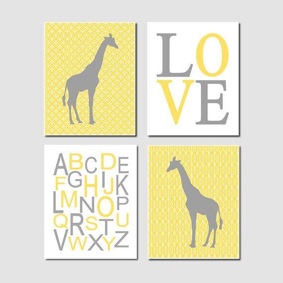 Yellow Gray Nursery Art Giraffe Nursery Decor Gender Neutral Nursery ...