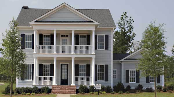 Double Stacked Porch But Only On A Portion Of The Front Of House Instead Of Across Enti Southern Living House Plans Colonial House Plans Southern House Plans