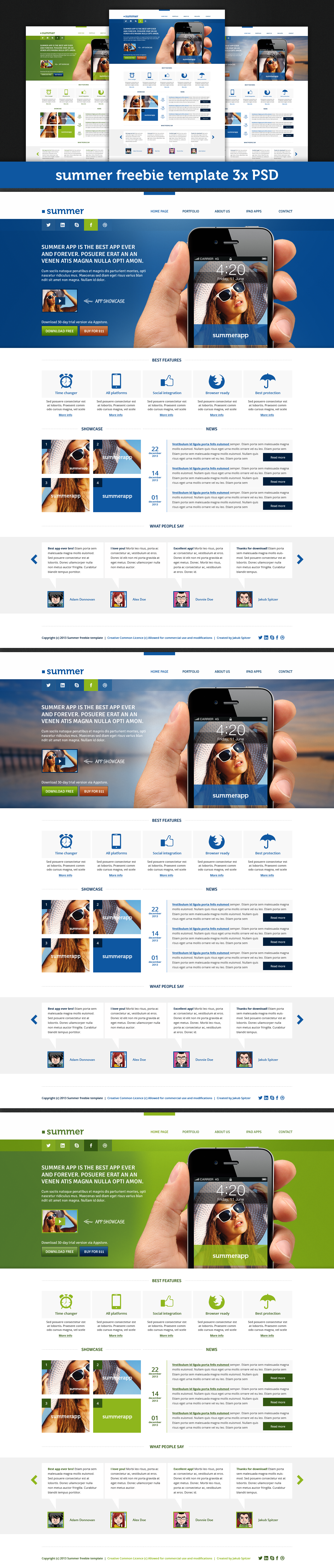 Summer website template (3x free .PSD files) | Free PSD Templates ...