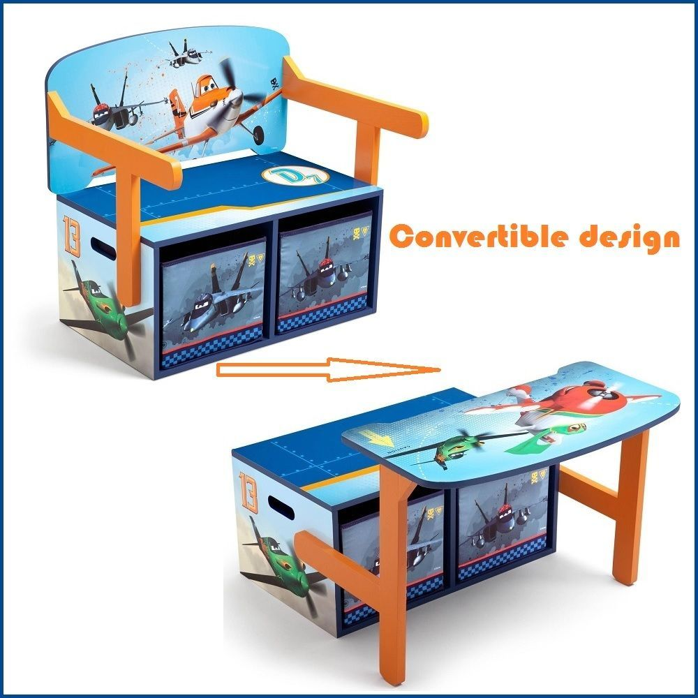 Art Desk For Kids Convertible Storage Bench 3 In 1 Toy Box Organizer Disney