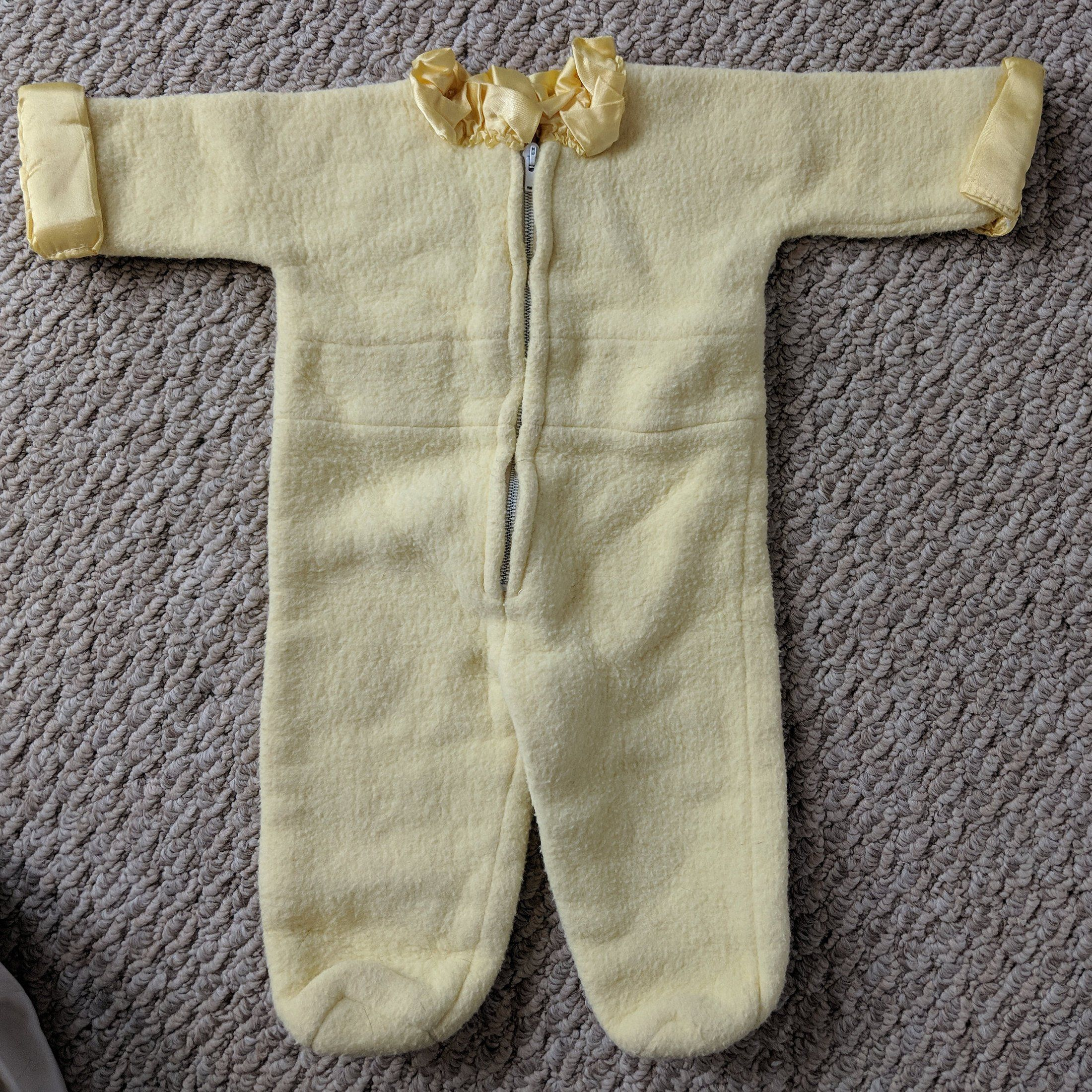aaf49cfc8 Vintage Fleece Baby Onesie Sleeper with Feet 1950s Mid-Century Light Yellow  Handmade Unisex Newborn Infant Outfit Warm by InheritedTaste on Etsy