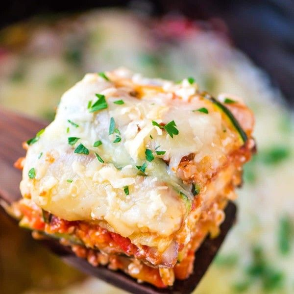 Crock Pot Low Carb Lasagna — Easy, CHEESY, and your slow cooker does all the work! Made with zucchini and eggplant instead of noodles — You'll never miss the pasta! @wellplated