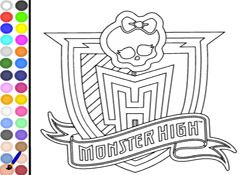 Colorear Monster Highcom  Juego Colorear Escudo Monster High