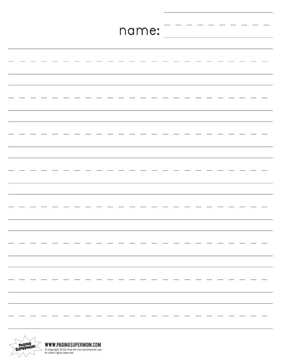 Kindergarten Lined Paper Loads of other samples - email to parents - free lined handwriting paper