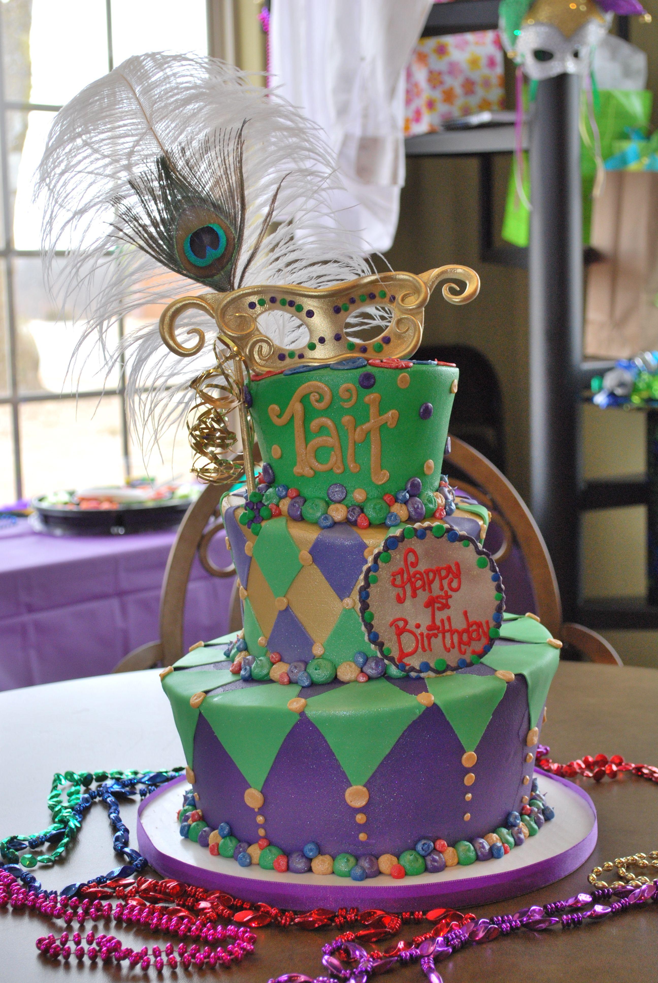 First Birthday Cake Mardi Gras Theme