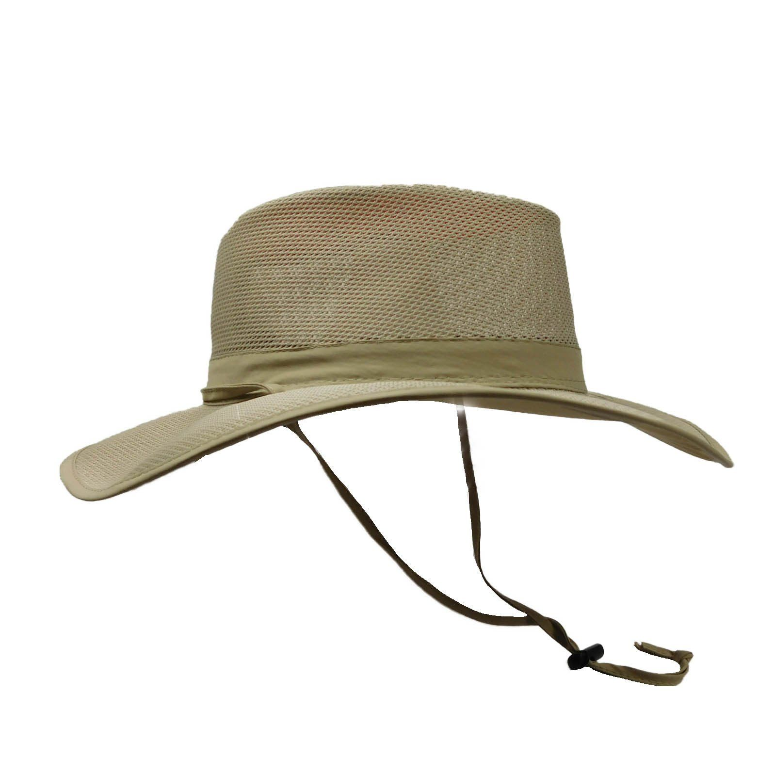 SPF 50 Vented Outback Safari Sun Hat w//Chin Strap Mesh Crown Breezer Cap