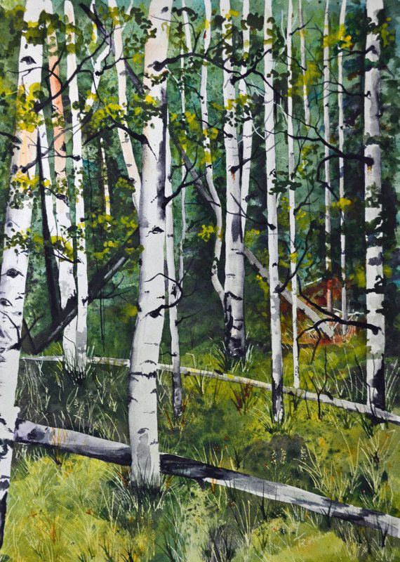 original landscape watercolor Colorado aspens by TerriRobertsonArt