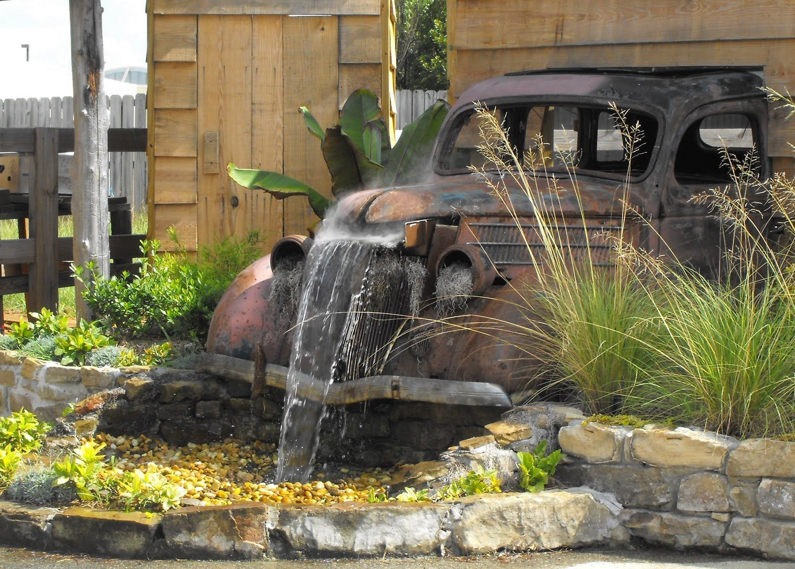 Vintage truck water feature my corner of the world my for Garden fountains and water features