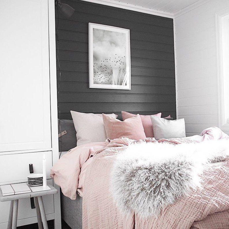 Bird Flock Print Bird Sky Poster Black And White Minimalist Etsy In 2021 Pink And Grey Room Pink Bedroom Decor Grey Bedroom Decor