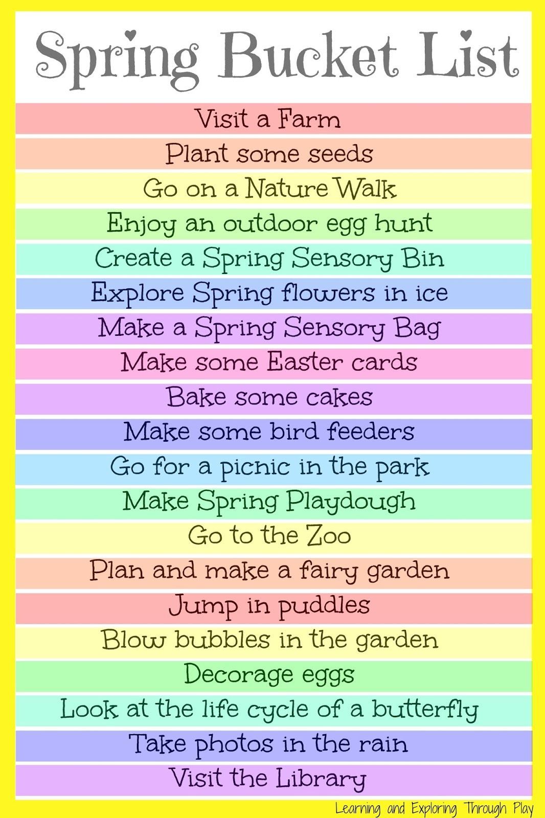 Spring Bucket List For Kids and Families
