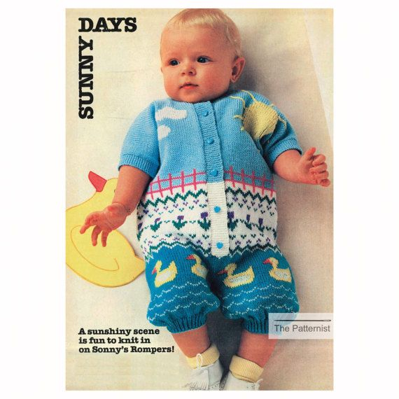16bf83edf8f5 Vintage Baby Knitting Pattern Romper Playsuit Onesie with Duck and ...