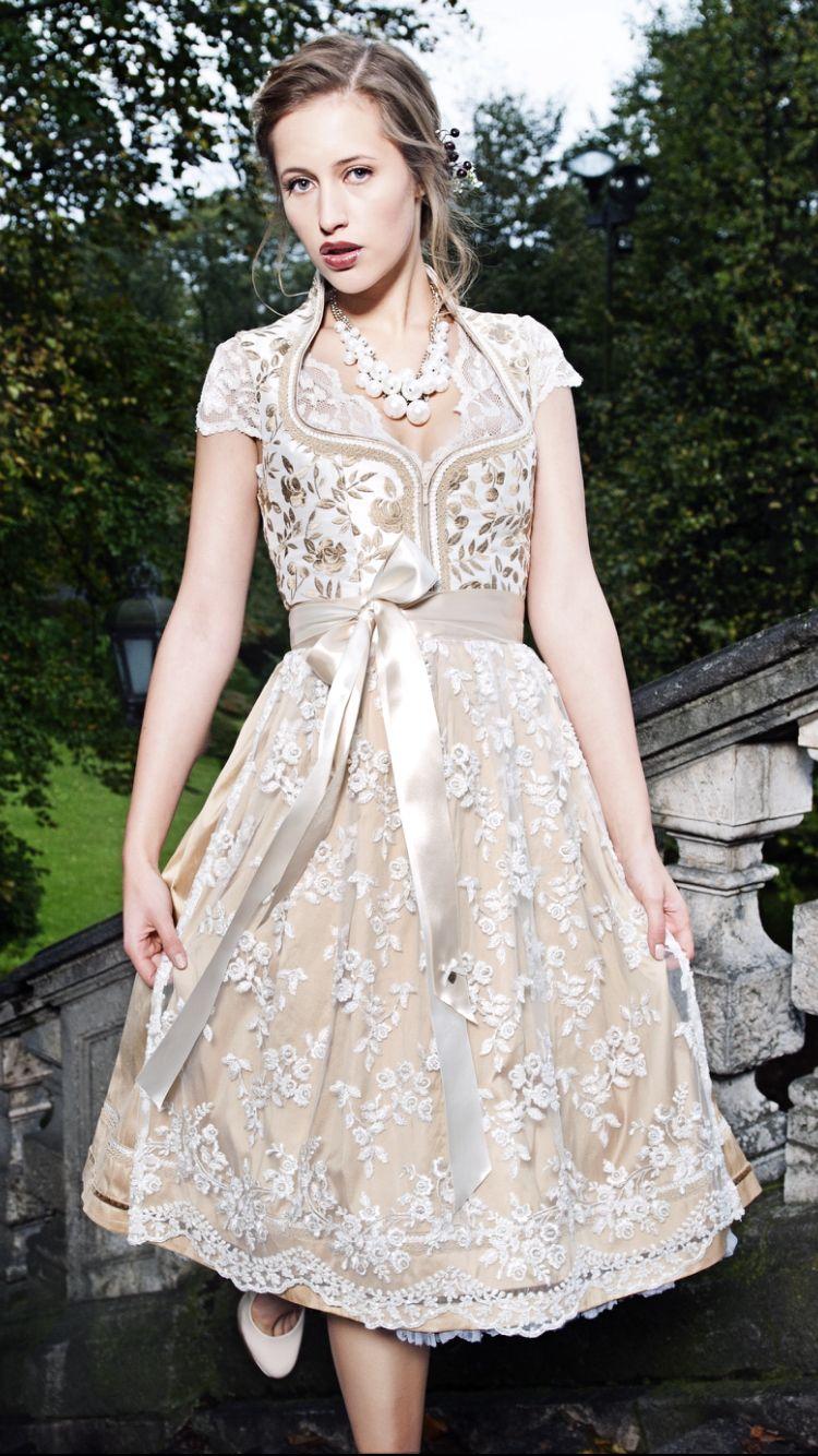 b9b40b2bc15fb8 AlpenHerz Dirndl Viktoria Champagner/Gold Ideal auch als Hochzeitsdirndl