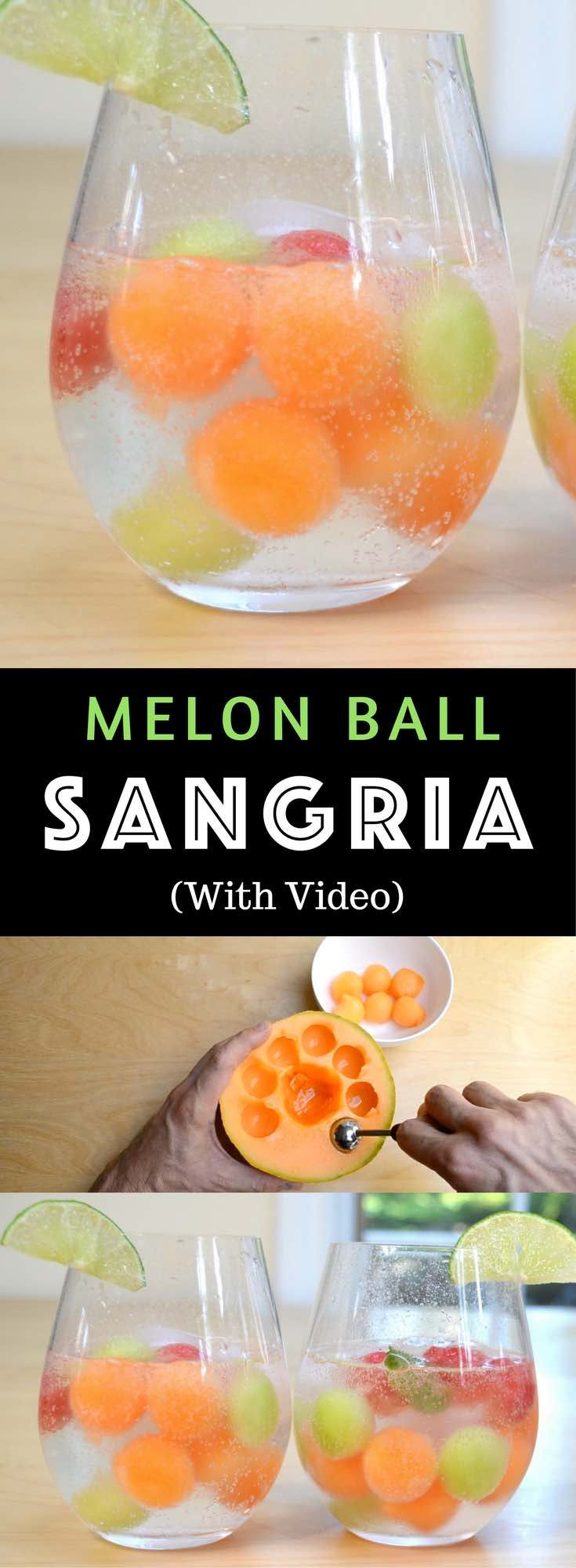 Easy Melon Ball Sangria – Refreshing and delicious melon ball sangria, the most beautiful sangria recipe! All you need is only a few ingredients: watermelon, cantaloupe and honeydew melons, moscato wine, sugar, lime, and sparkling water. Easy drinks recipe. Video recipe. | Tipbuzz.com #melonrecipes