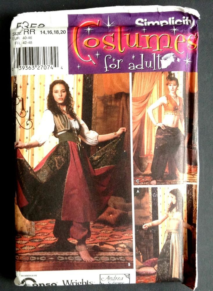 Simplicity 5359 Belly Dancer Halloween Costume Pattern Adult 14 20
