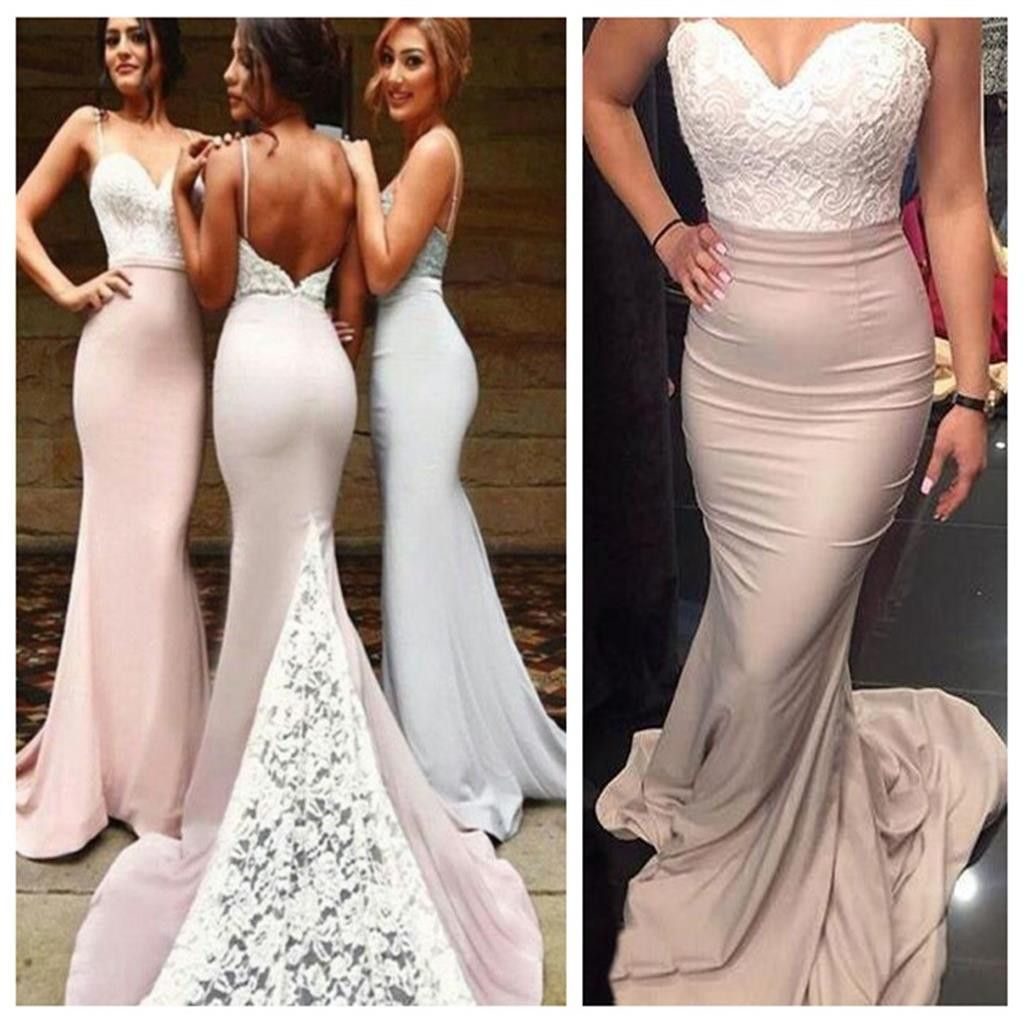 Mermaid backless sexy spaghetti straps popular prom dressescustom
