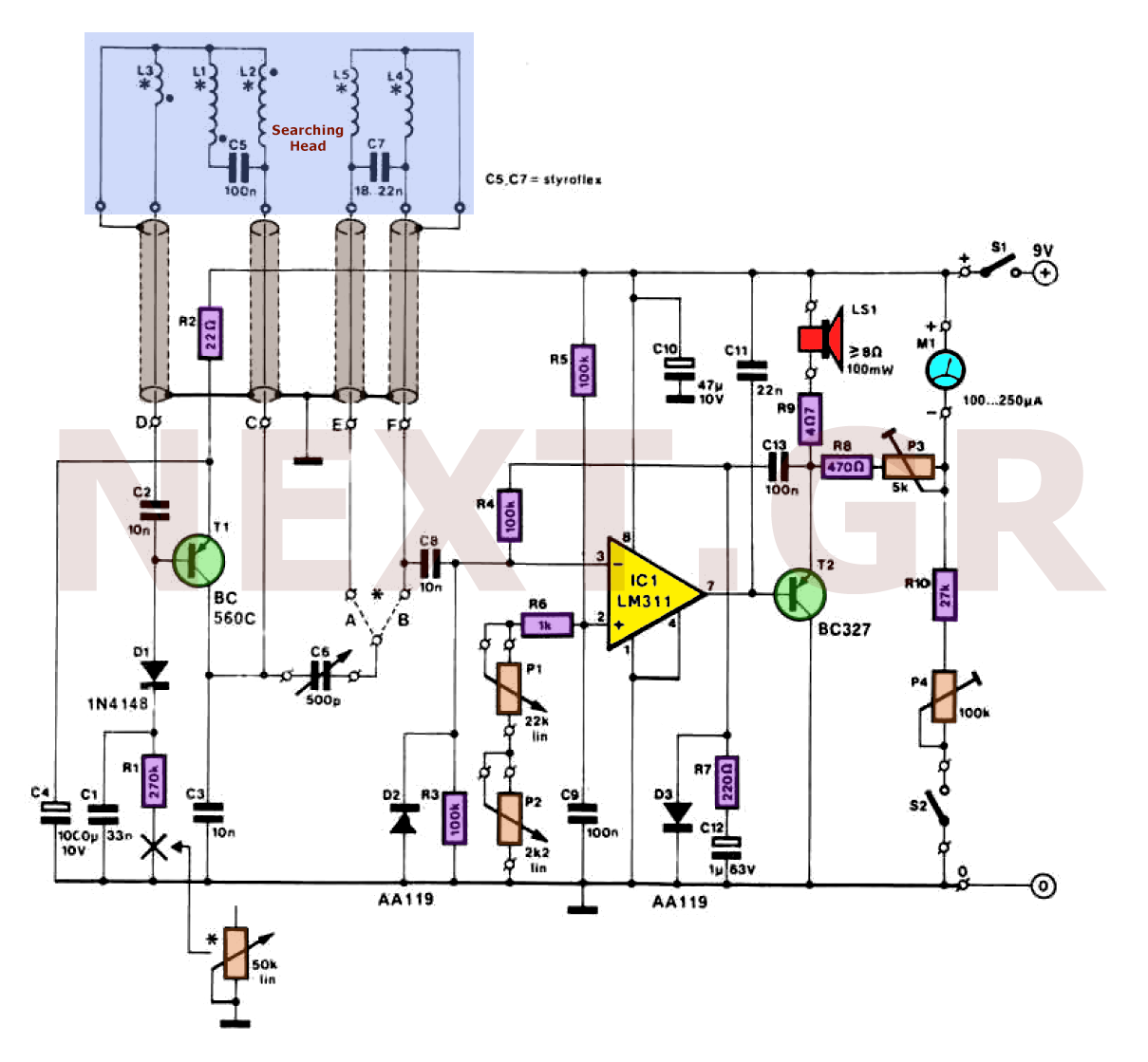 Basic Circuitry Of Metal Detection Cheap Detector Circuit Schematic Discrimination Tr Ib