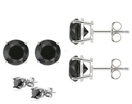 FANTOM JEWELRY Sterling Silver 6mm Each 925 Dark Simulated Amethyst /& White CZ Crystal Bead Ball Combo Stud Earrings