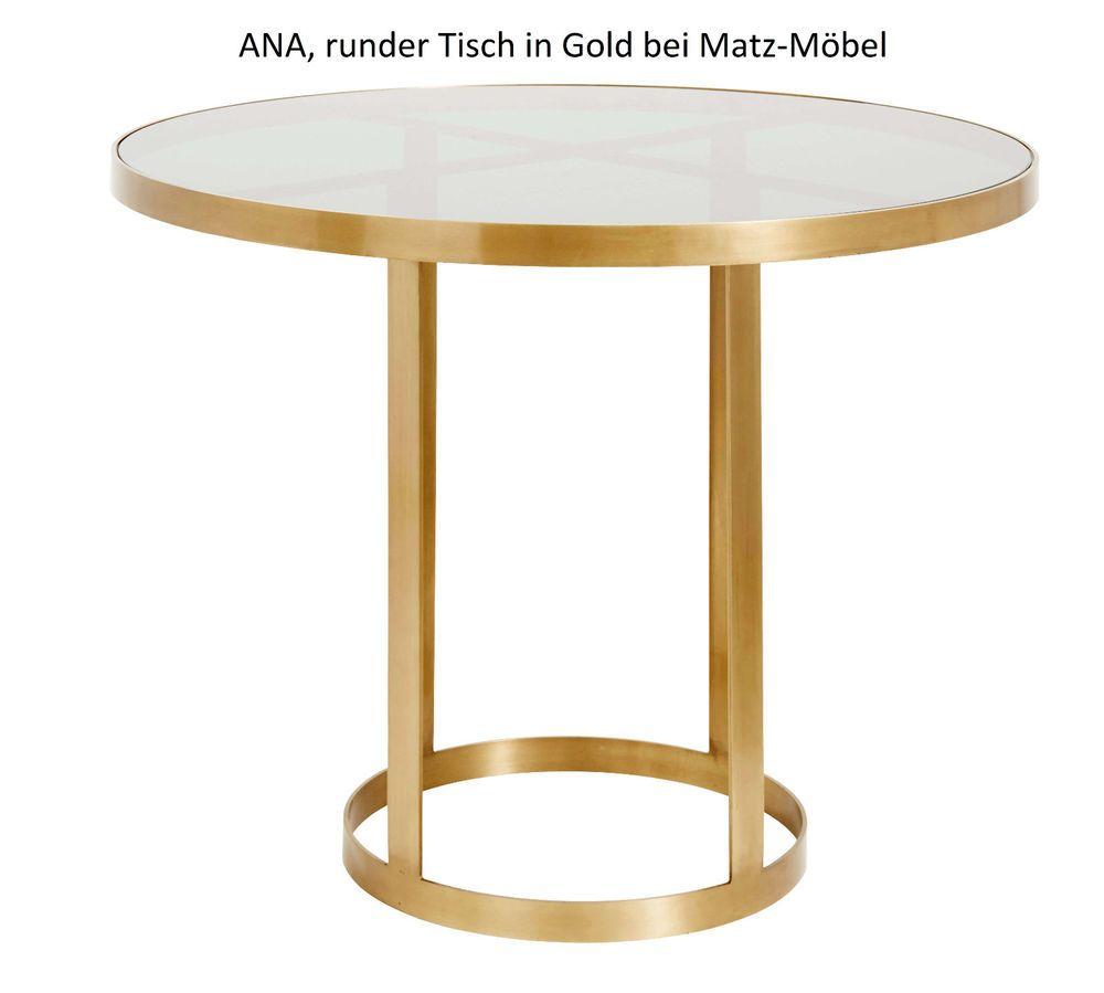 Runder Esstisch Ana Design Bistrotisch Rund In Gold Dunkles Glas