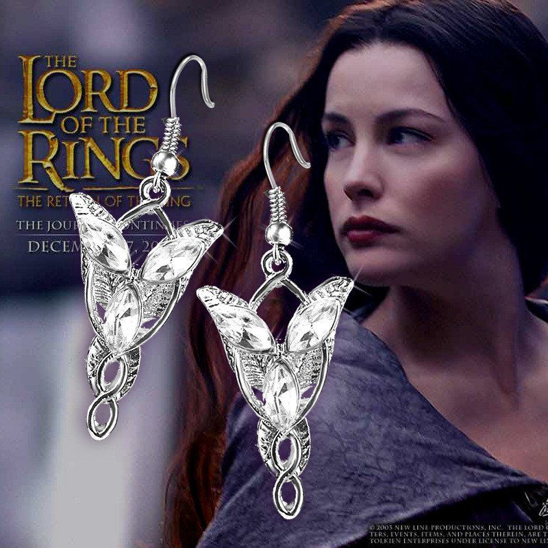 """Lord Of The Rings Arwen Evenstar Earrings Necklace Silver Plated Crystal Set 18/"""""""