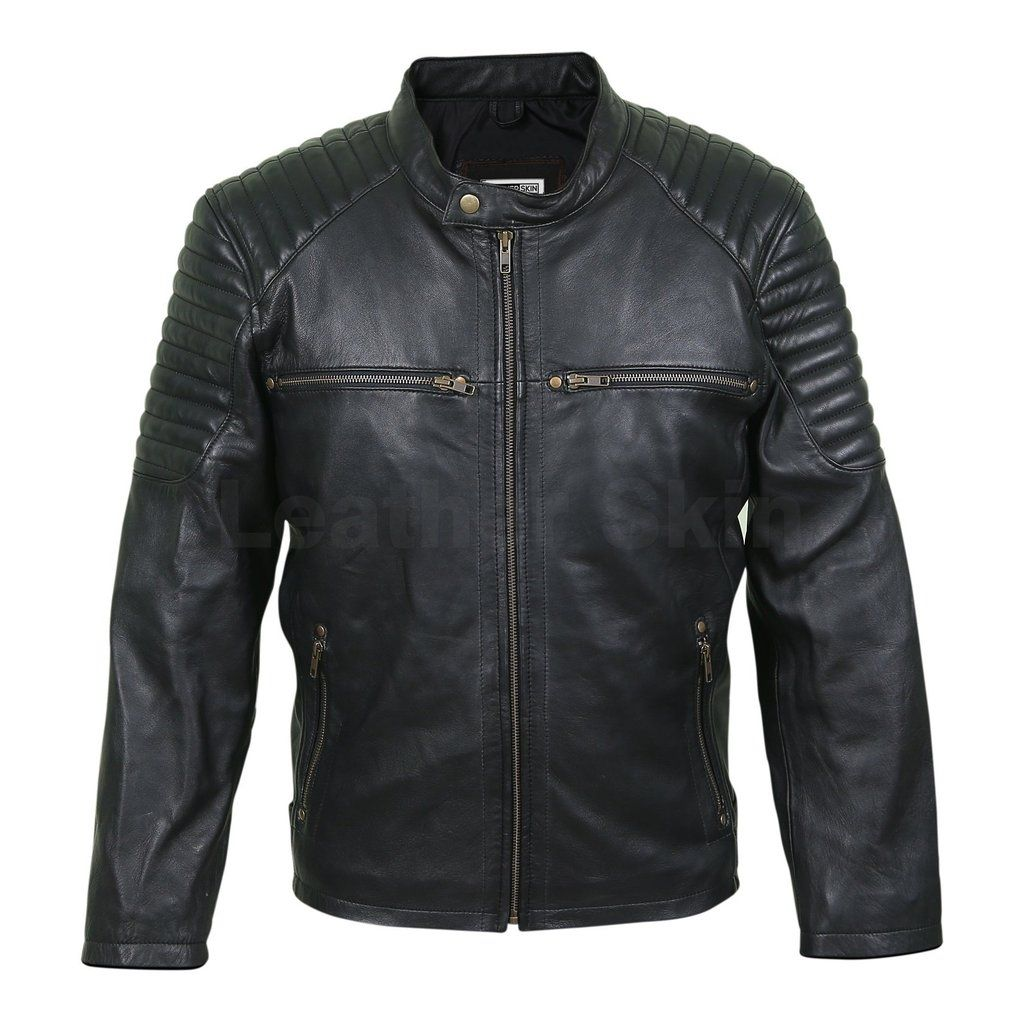 Men Antique Zippers Black Leather Jacket with Padded