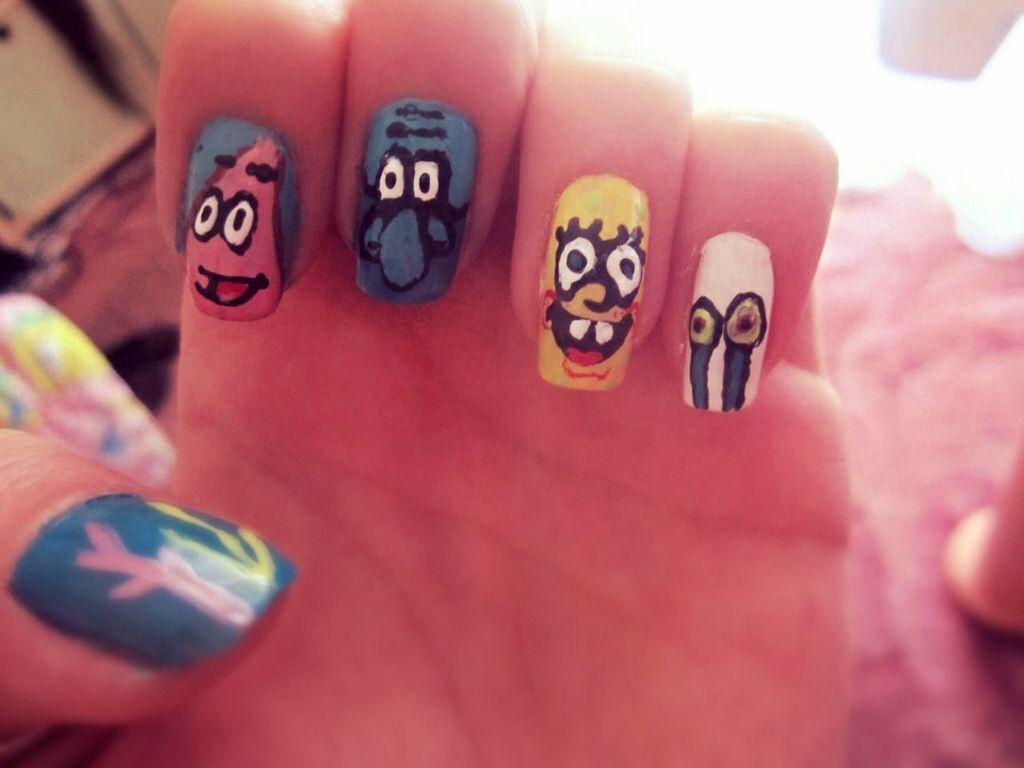 Spongebob Nail Art Design Spongebob Nailart Nail Art So Wanna