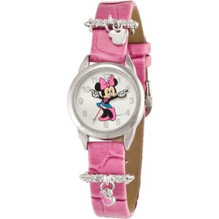 Disney Women's Minnie Mouse Pink Heart Charm Watch, Simulated-Leather Strap