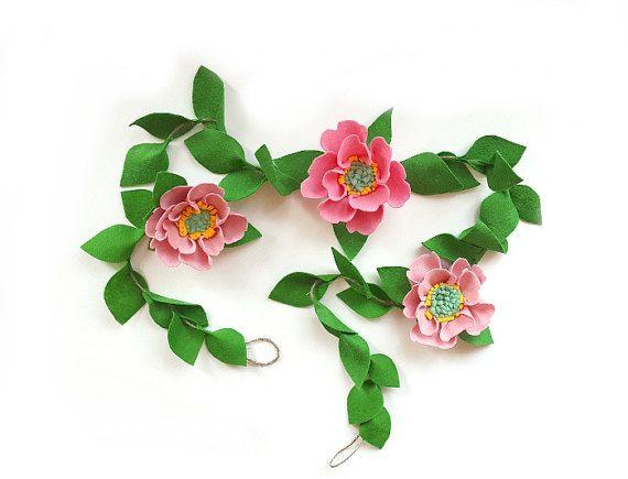 Felt flower garland, greenery garland, pink peony garland, pink nursery garland, bridal shower, pink baby shower, felt flower vine