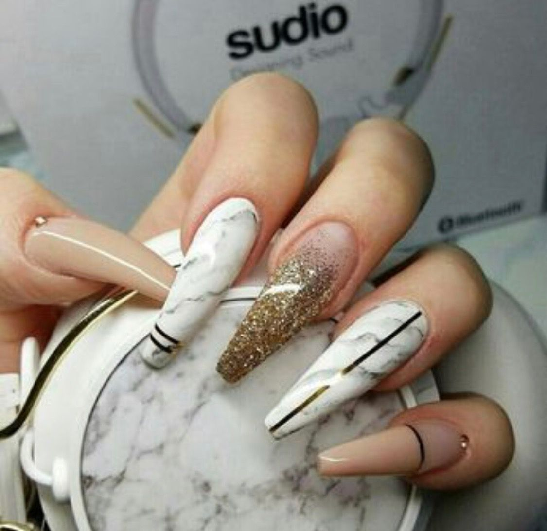 Long Acrylic Nails With Design Coffin With Glitter Ombr Neutral