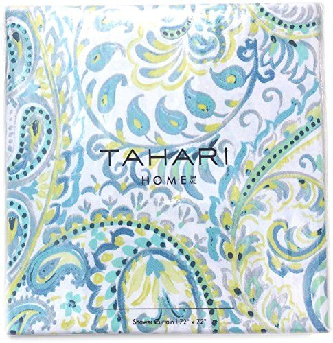 Amazon Com Tahari Luxury Cotton Blend Shower Curtain Turquoise