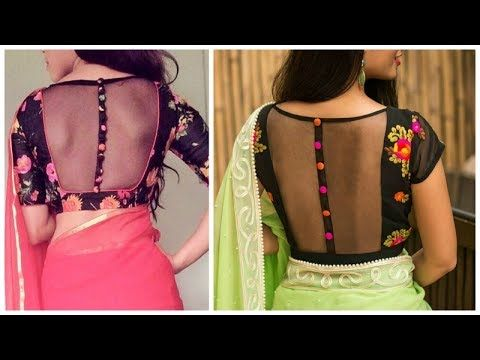 e9cab6b1507783 Collar neck blouses. - YouTube | blouse deginer | Blouse designs ...