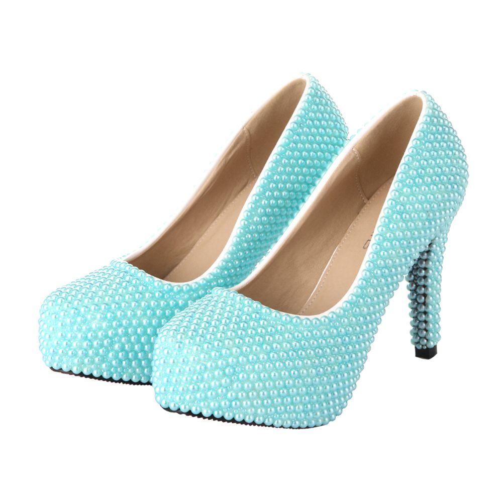 VELCANS Designer Colored Pearl Platform Wedding Prom High Heels ...