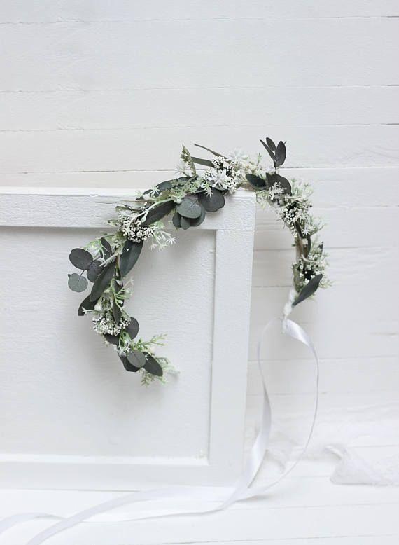 Ähnliche Artikel wie Krone für Blumen-Mädchen Baby Krone Eukalyptus Blumenzubehör Wedding Blumenkrone Braut-Krone Bridal Kopfteil Bridesmaid Leaves Stirnband auf Etsy