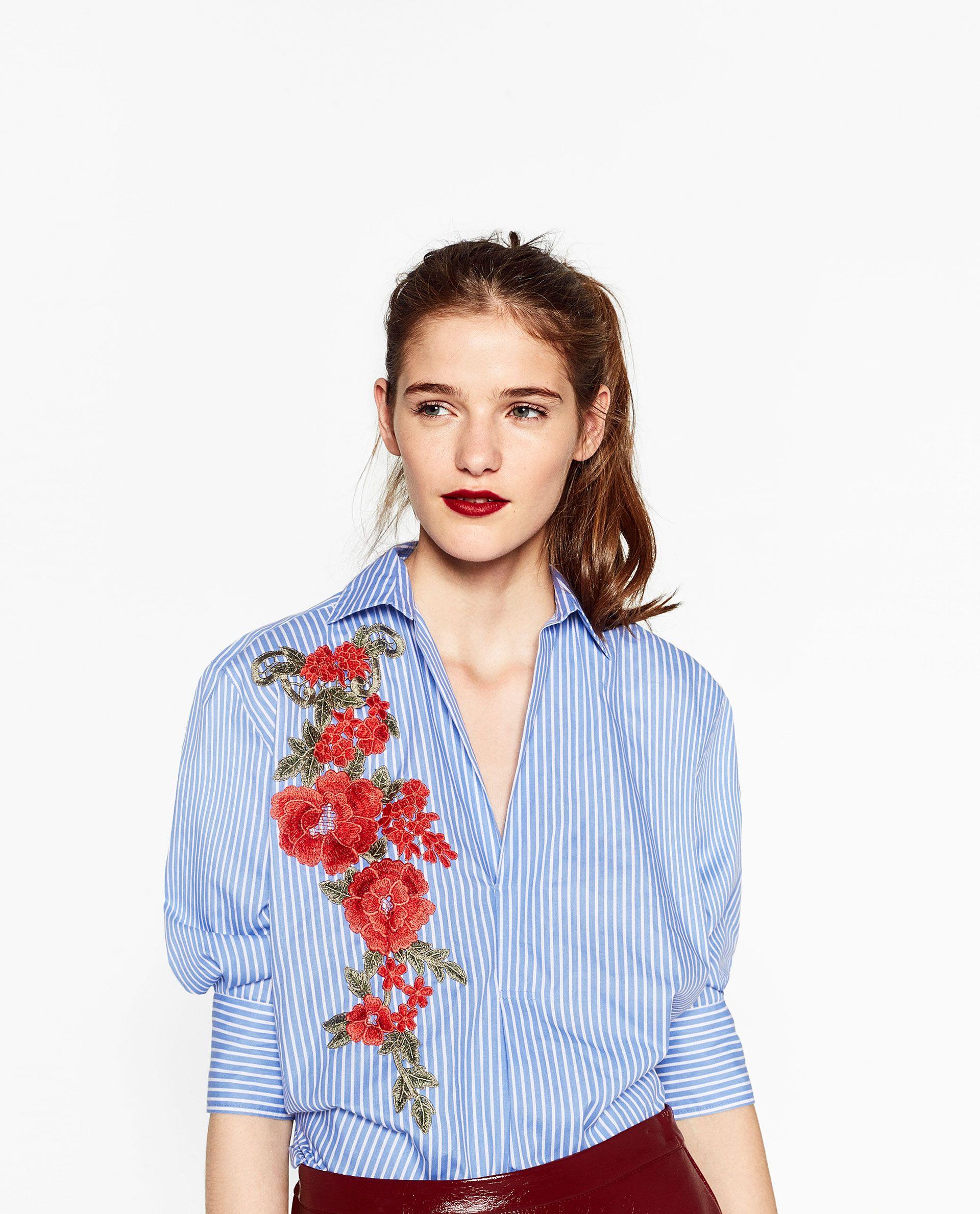 f1ce3bf2 VESTIDO CAMISERO CON PARCHE   wardrobe   Embroidered blouse, Dress ...
