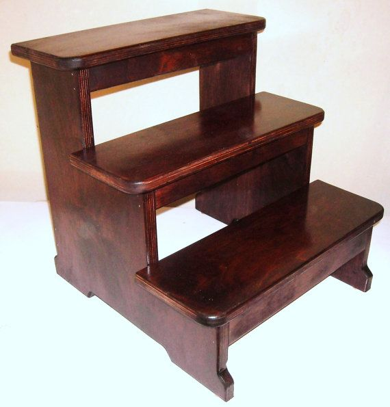 Xxlg wood 3 step stool dark cherry by wjfwoodcrafts on etsy stuff i want pinterest for Cherry wood step stool bedroom