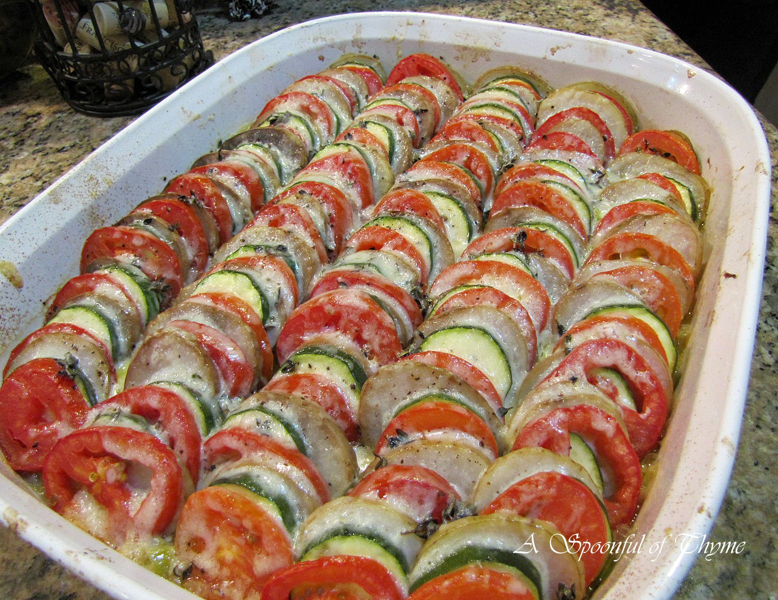 Vegetable Tian - a French recipe for baked veggies with gruyere cheese, yum!!