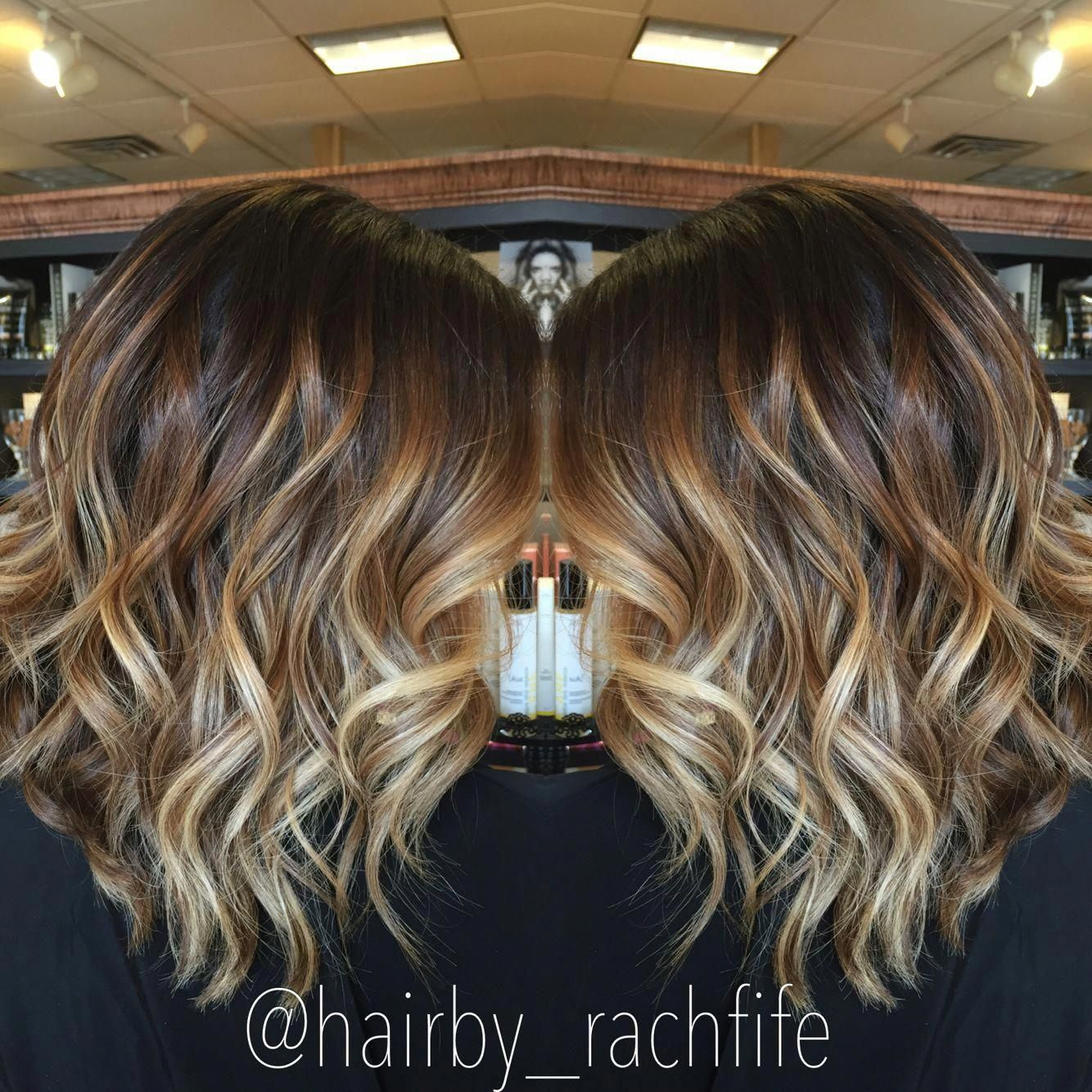 Stretched Root Balayage Ombre Highlights Hair By Rachel Fife Sara Fraraccio Salon In Akron Ohio Ombrebobh Short Hair Balayage Balayage Hair Short Wavy Hair