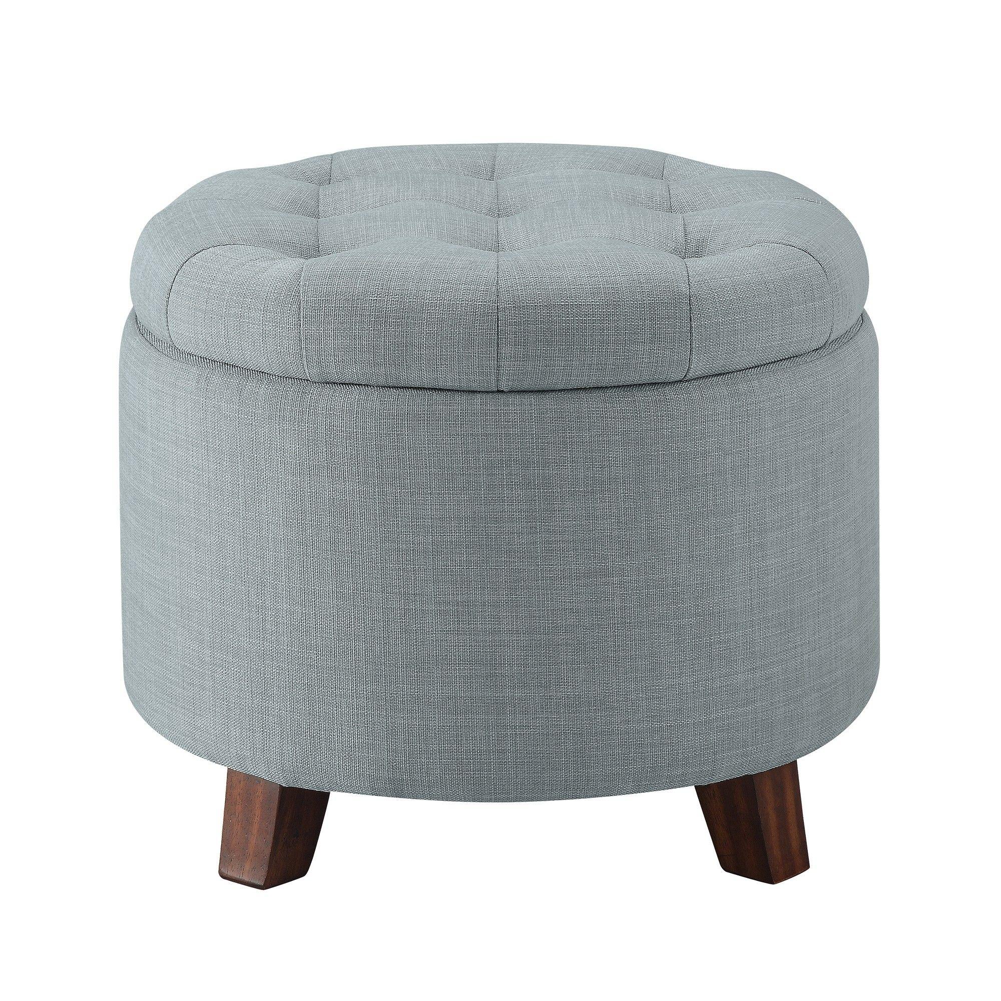 Tufted Round Storage Ottoman Heathered Gray Threshold Adult