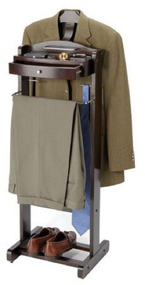 Genial Standing Wood Bedroom Valet Organizer Closet Mens Clothes Stand Suit Rack  Hanger