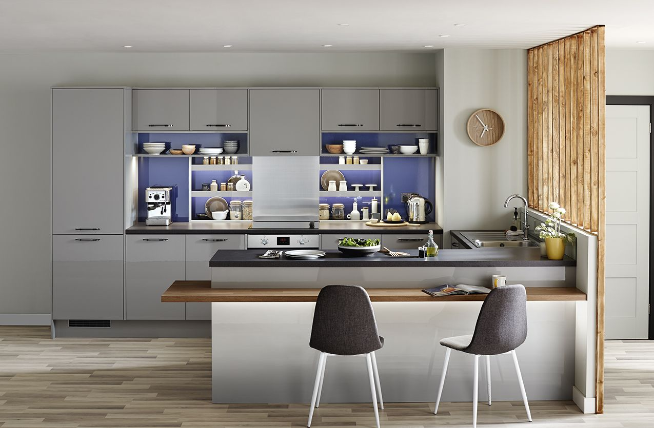 The Greenwich Gloss Grey Combines Minimalist Design And Cool Grey - Kitchens in grey tones