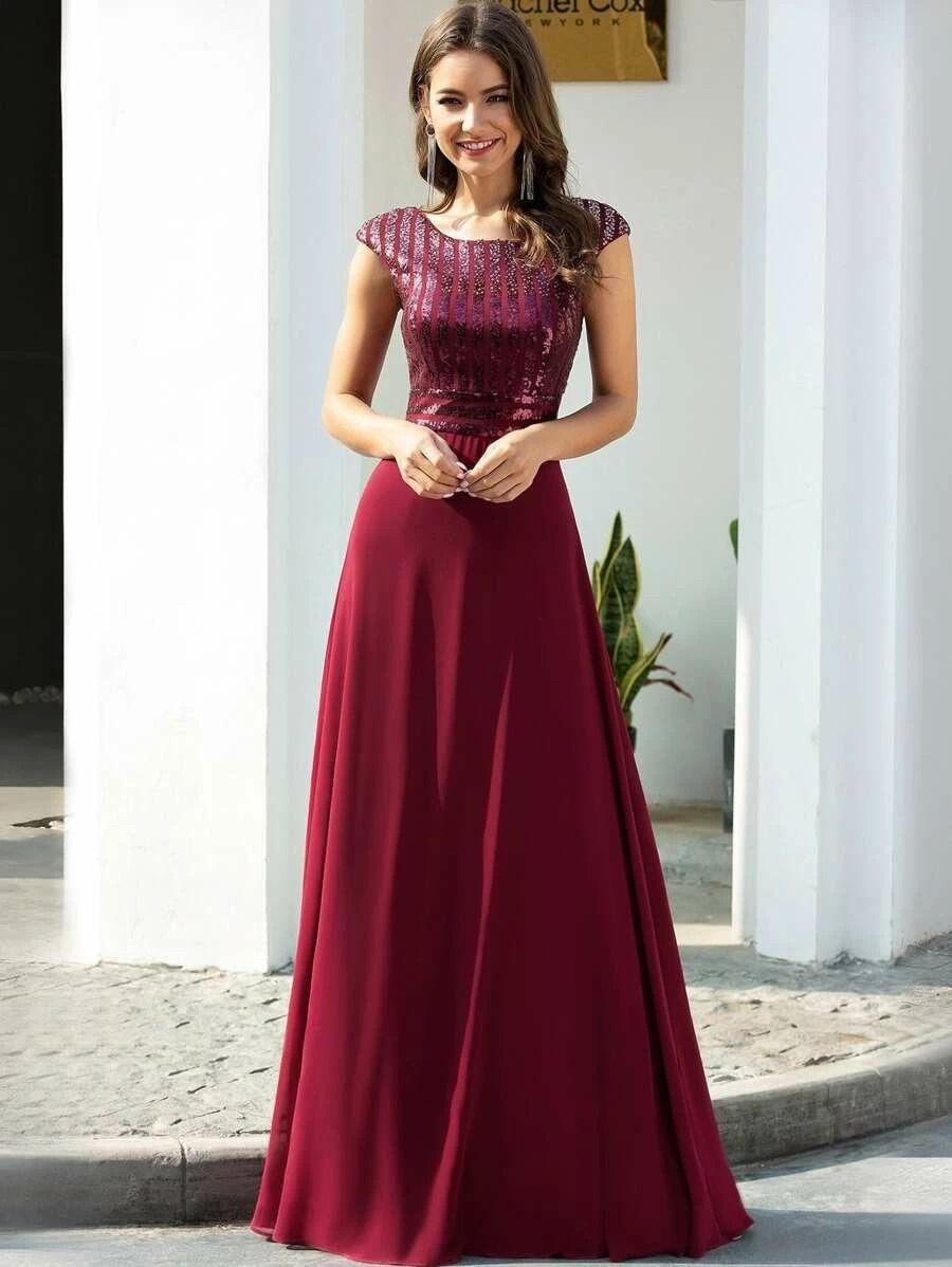 Affiliate Link EVER PRETTY Sequin Bodice Chiffon Formal Dress ...