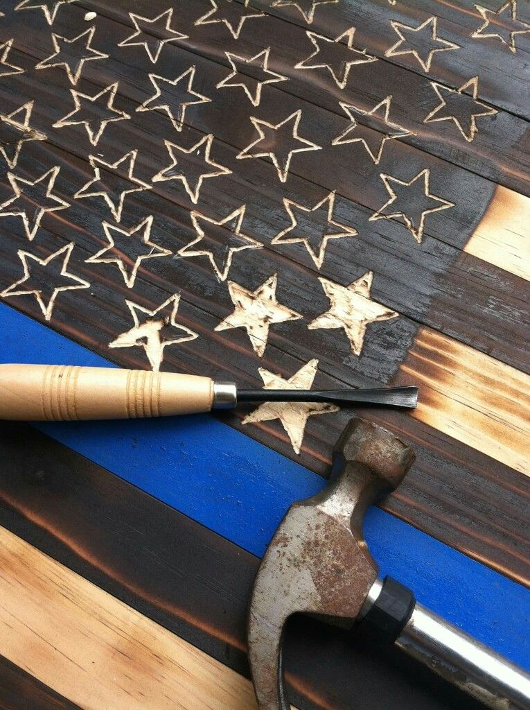 Charred Wood American Flag Thin Blue Line Police Officer