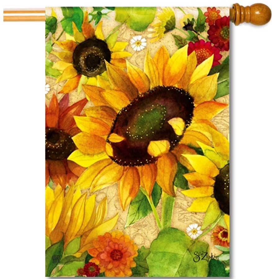 Yellow Fall Sunflower House Flag Just For Fun Flags In 2020 Garden Flag Stand Fall Garden Flag Sunflower House